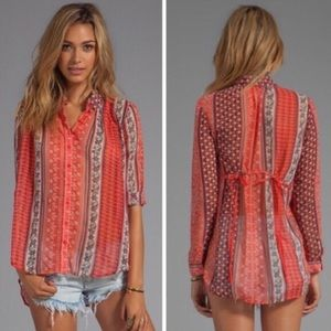 Free People | Patterned Semi Sheer Tie Blouse